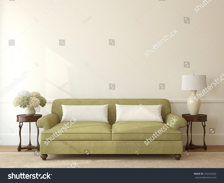 Classic Livingroom Interior Green Couch Near Stock Illustration ...