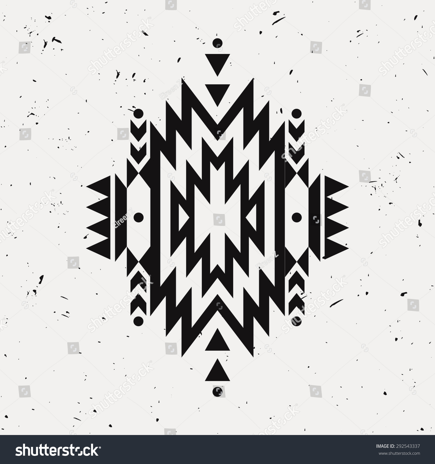 Vector grunge monochrome decorative ethnic pattern American indian motifs Background with black aztec tribal ornament