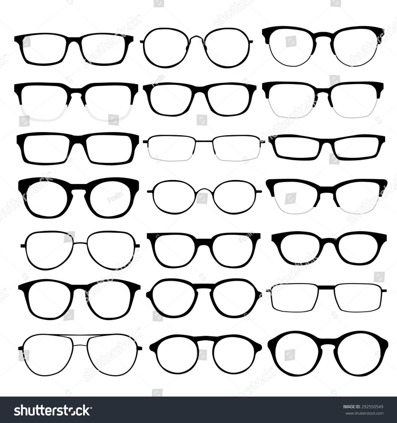 Royalty-free Set of custom glasses isolated. Vector… #292550549 ...