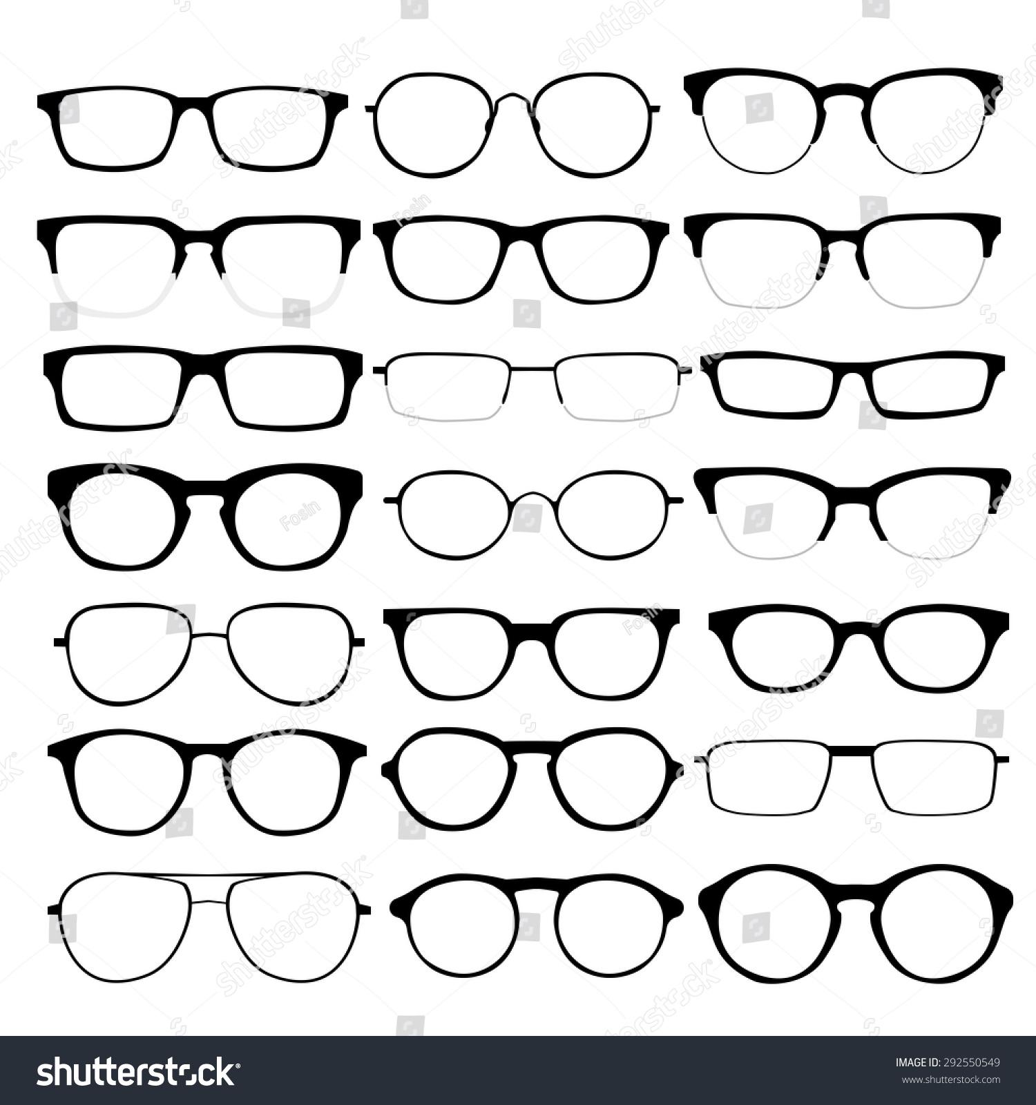 Eyeglasses frames in style - Glasses Frames Styles Set Custom Glasses Isolated Vector Illustration Stock Vector