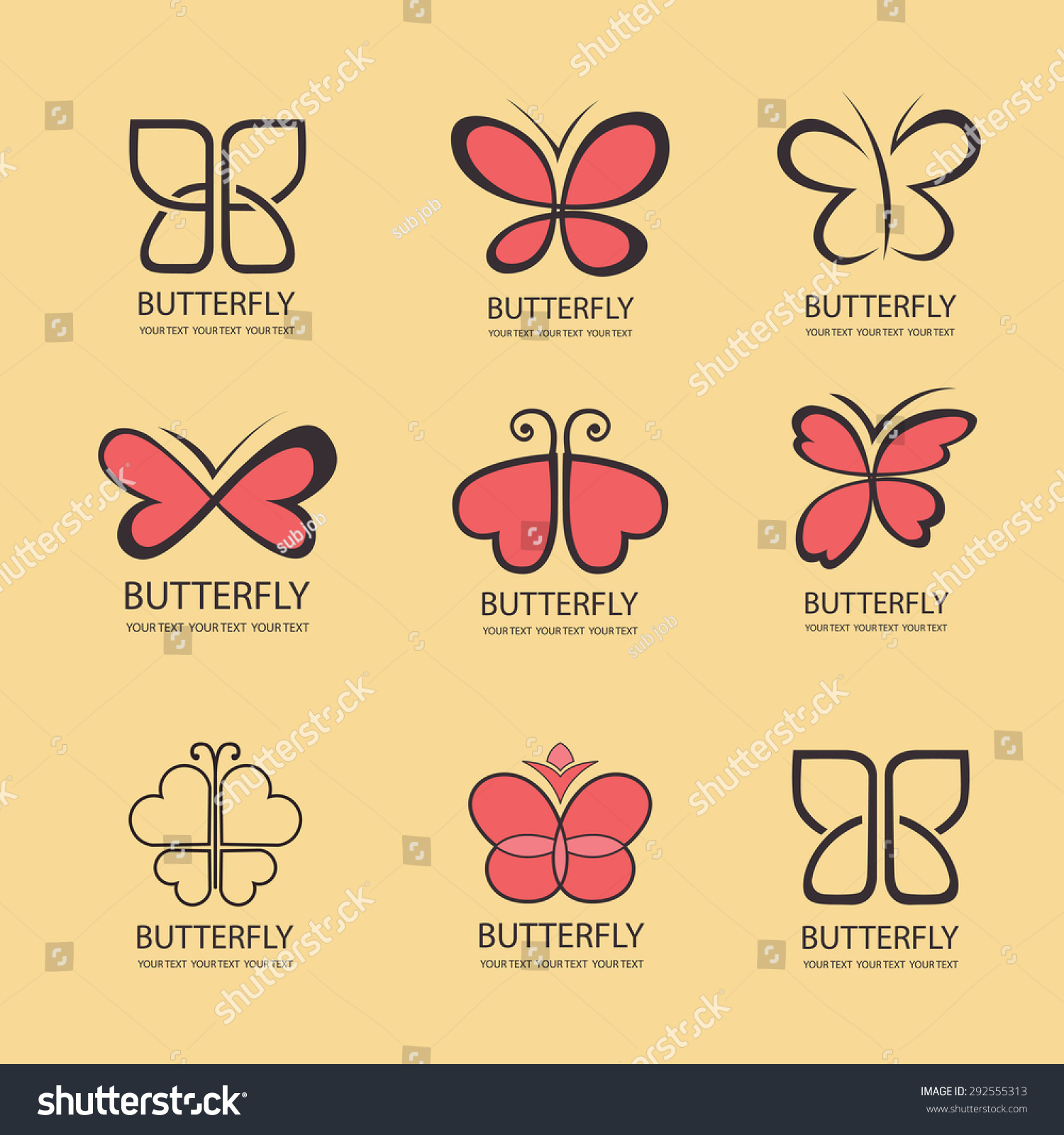 89d59168c2 Sweet Butterfly. wings in the shape of hearts. Vector icons. flat design set