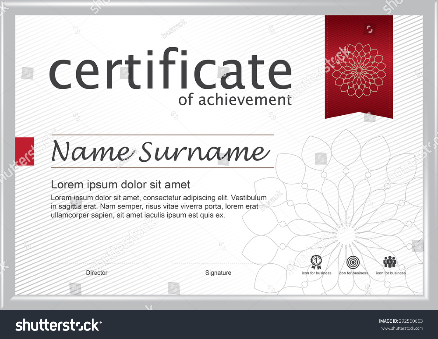 retro horizontal certificate with white frame certificate template