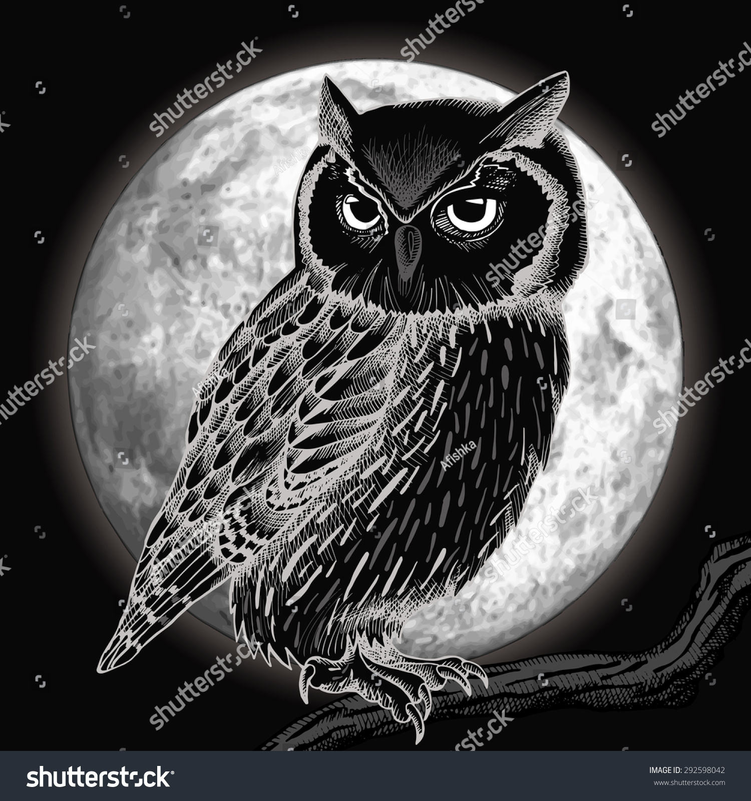 Owl Moon Night Vector Illustration Stock Vector 292598042 ...