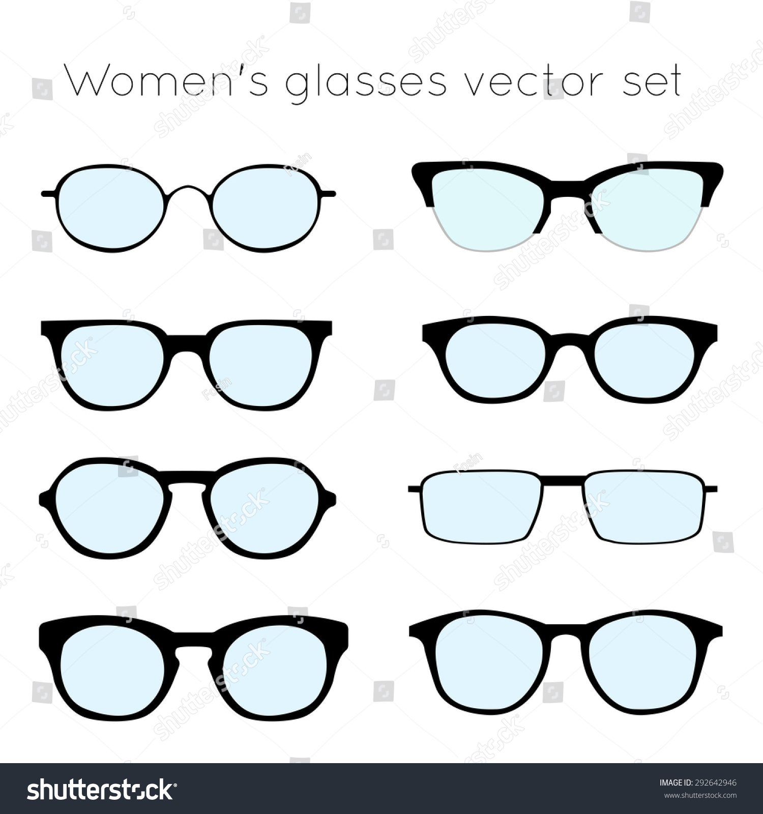 Vector Set Different Glasses On White Stock Vector 292642946 ...