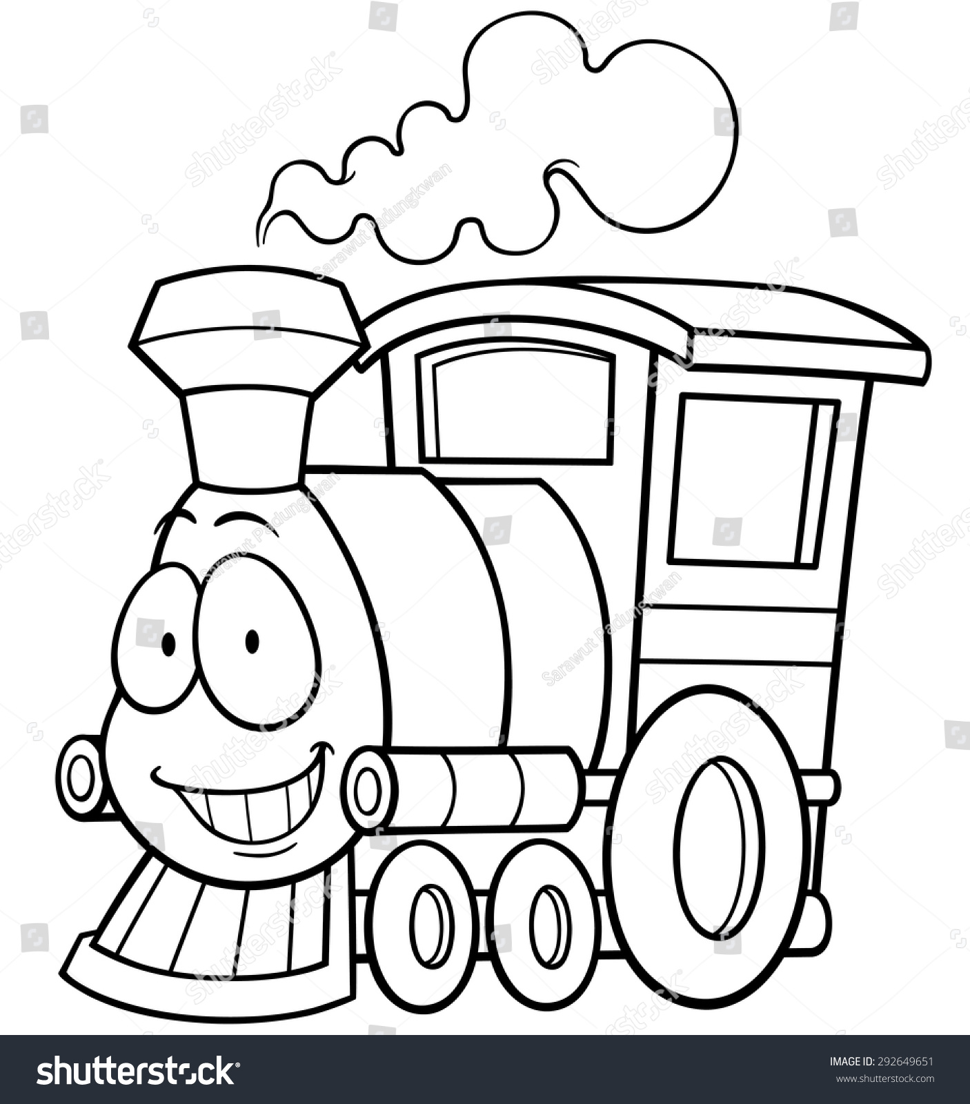 vector illustration of cartoon train coloring book - Train Coloring Book
