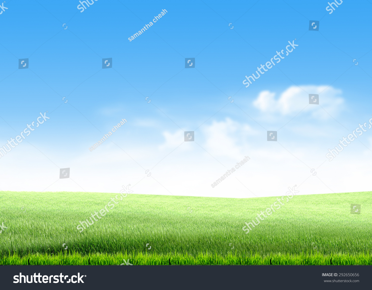 green grass hill lawn field over stock illustration 292650656