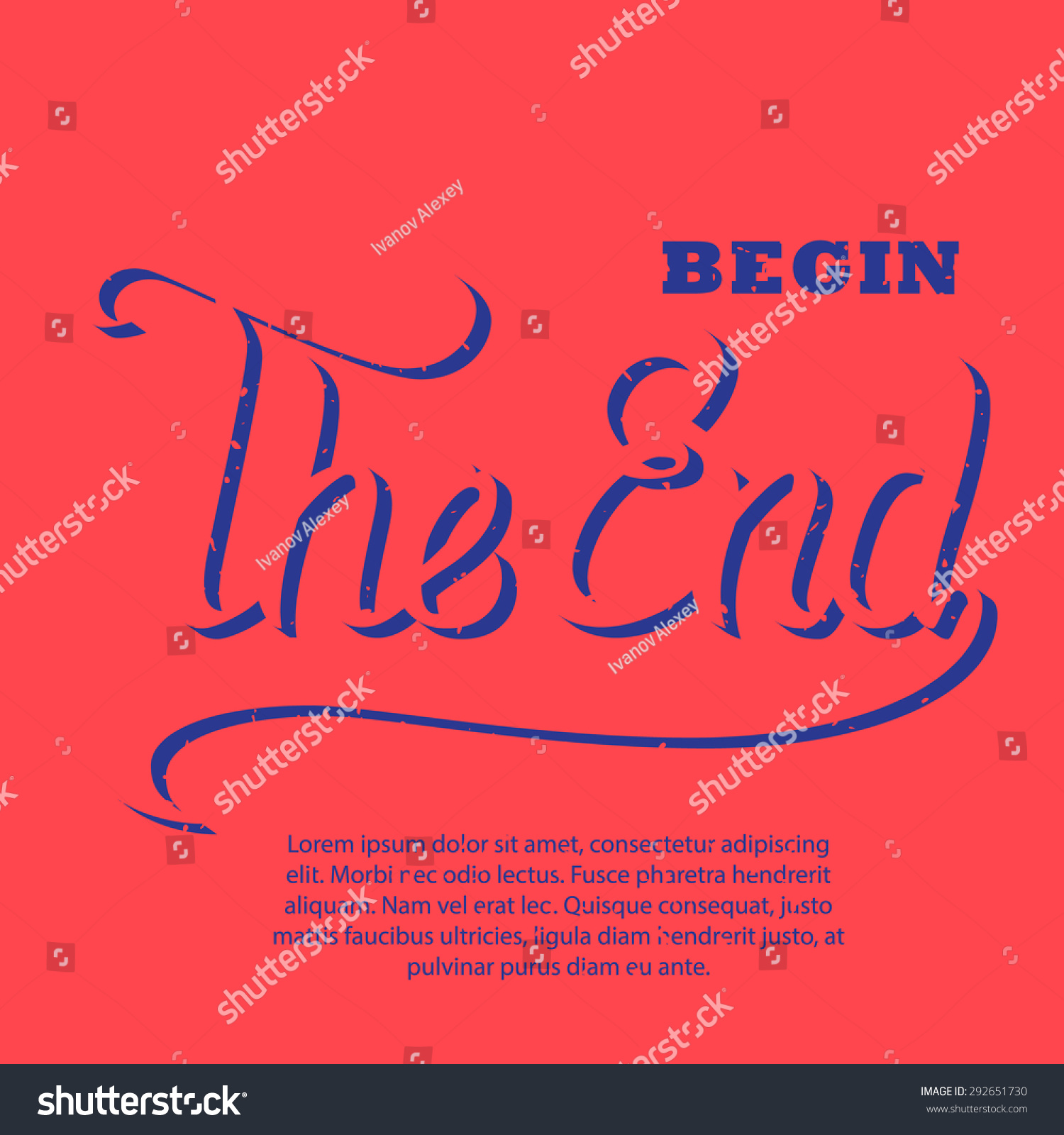 Vector Illustration Handdrawn Words Begin End Stock Vector Royalty