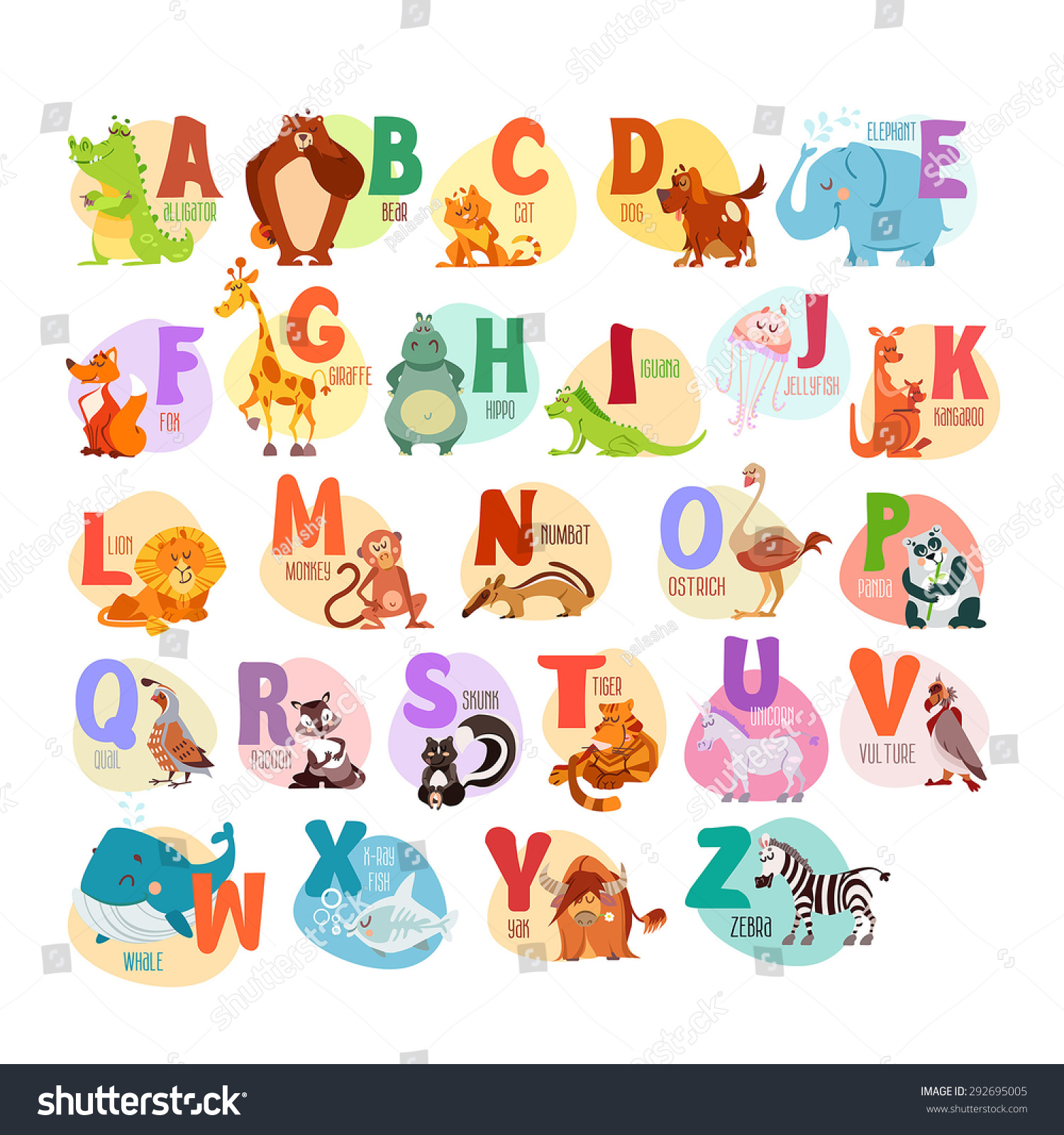 Cute Cartoon Animals Alphabet Children Education Stock Vector ...