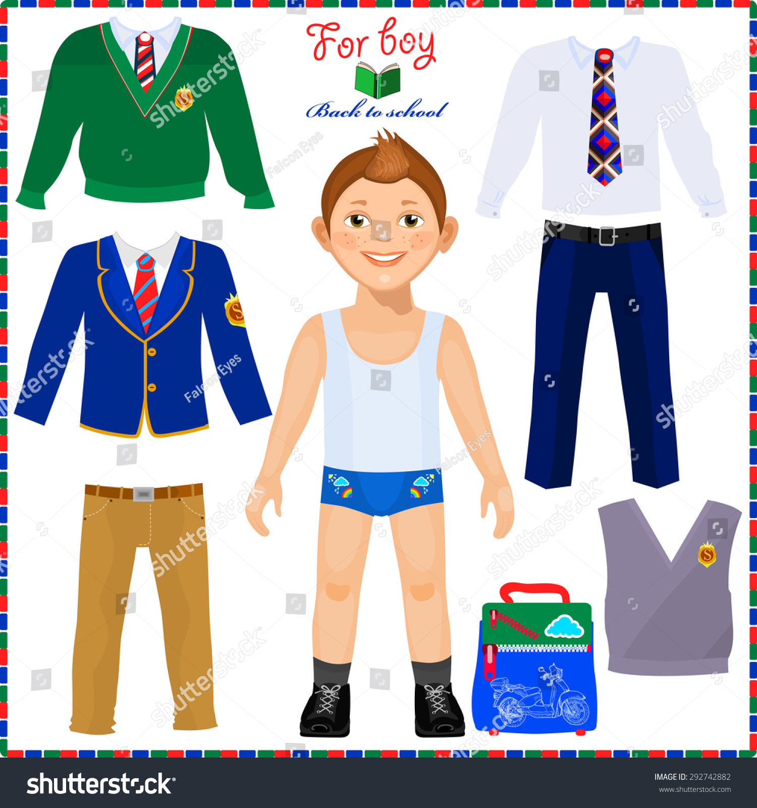 Paper Doll Set Clothes Cute Boy Stock Vector Royalty Free