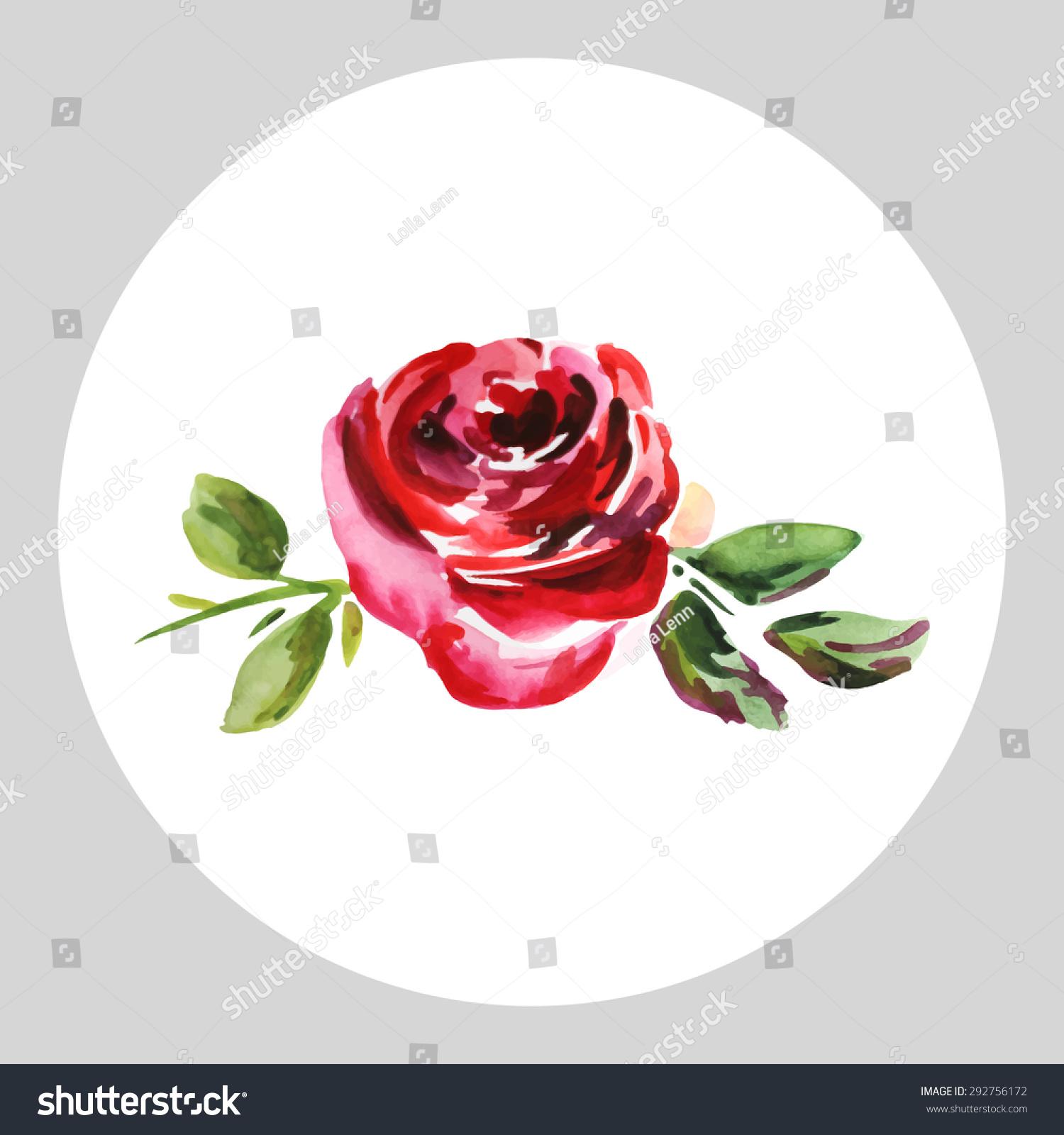 Rose Watercolor Design Wedding Invitations Greeting Stock Vector ...