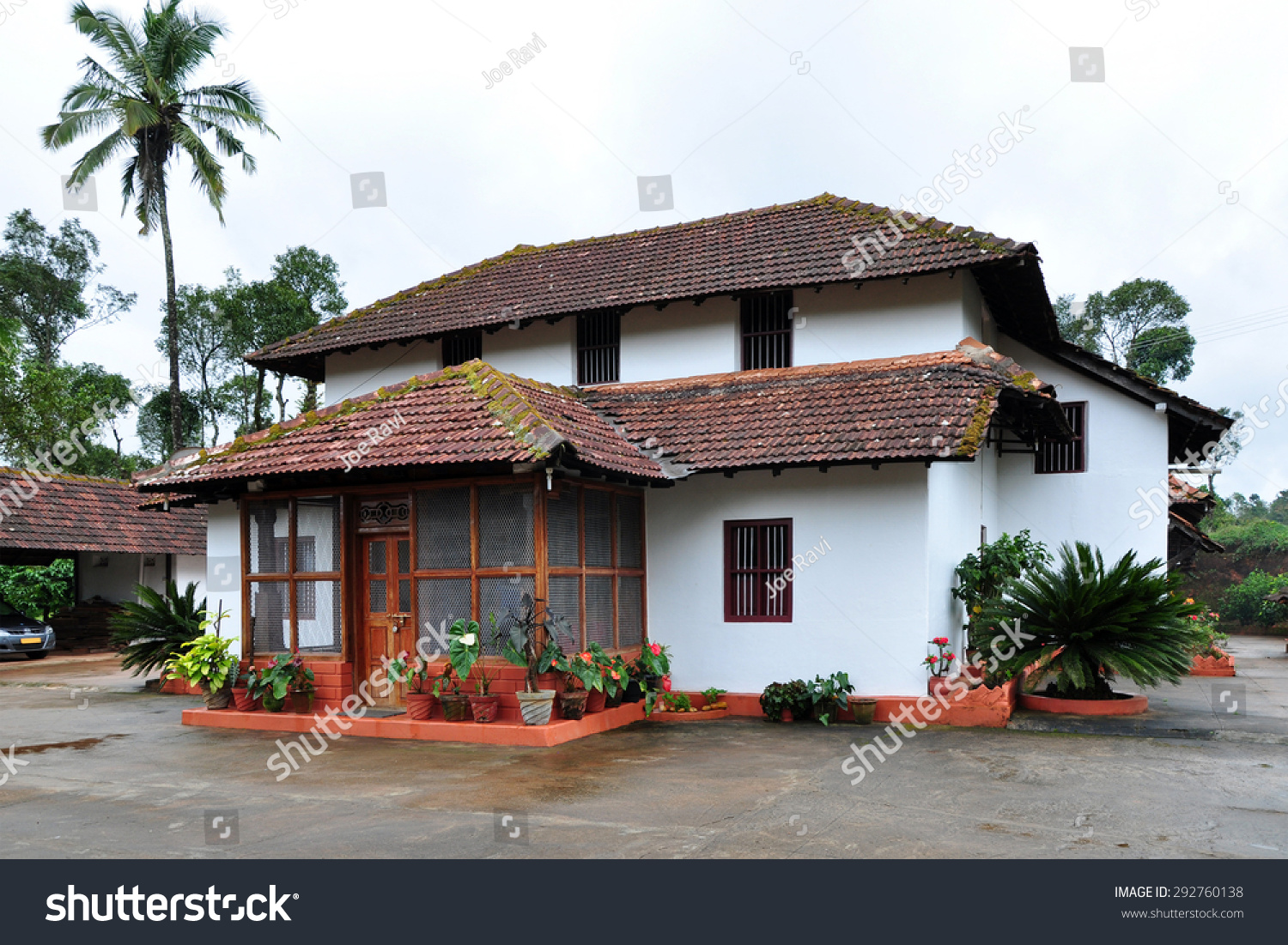 Traditional kerala style house coorg karnataka stock photo for Architecture design for home in mysore
