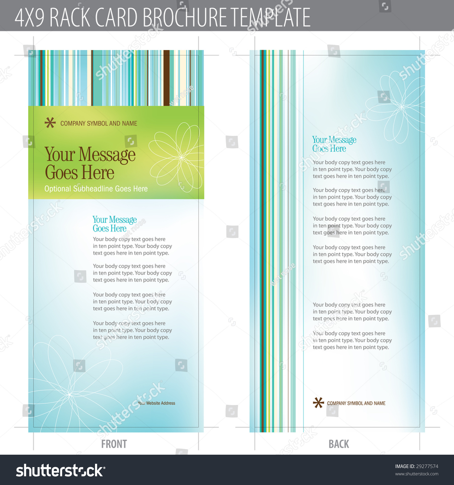 4x9 rack card brochure template includes cropmarks bleeds and keyline elements in layers. Black Bedroom Furniture Sets. Home Design Ideas