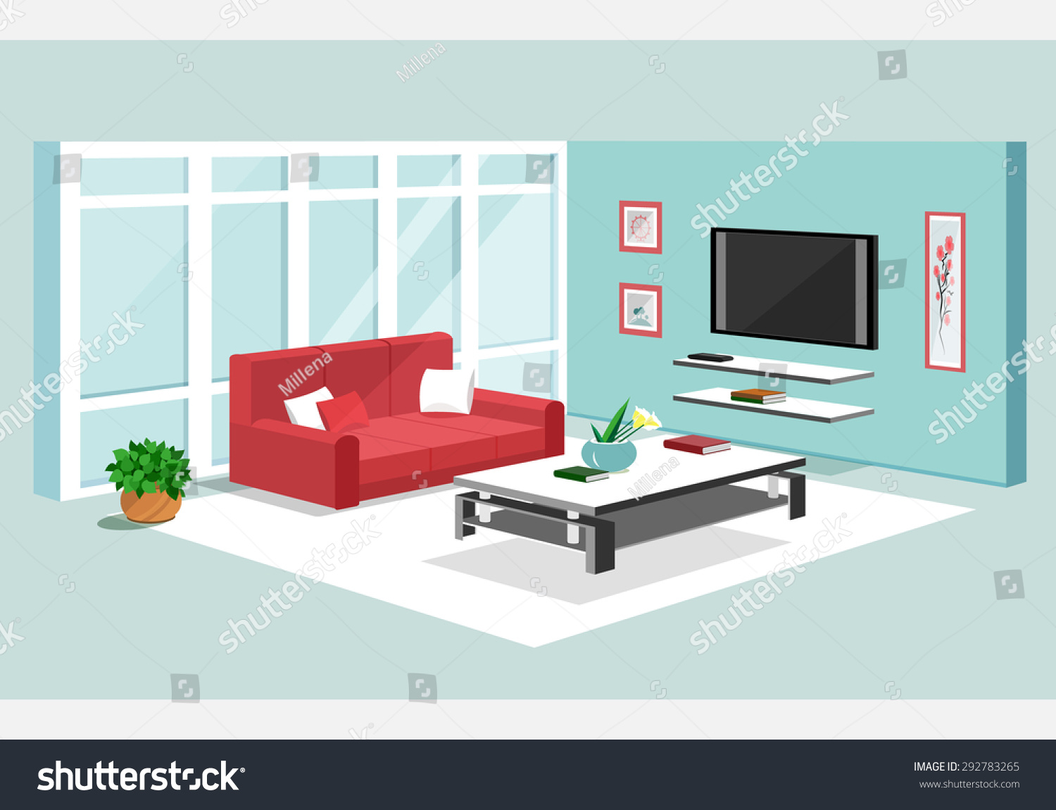 3d isometric design apartment modern graphic stock vector for Furniture 3d design