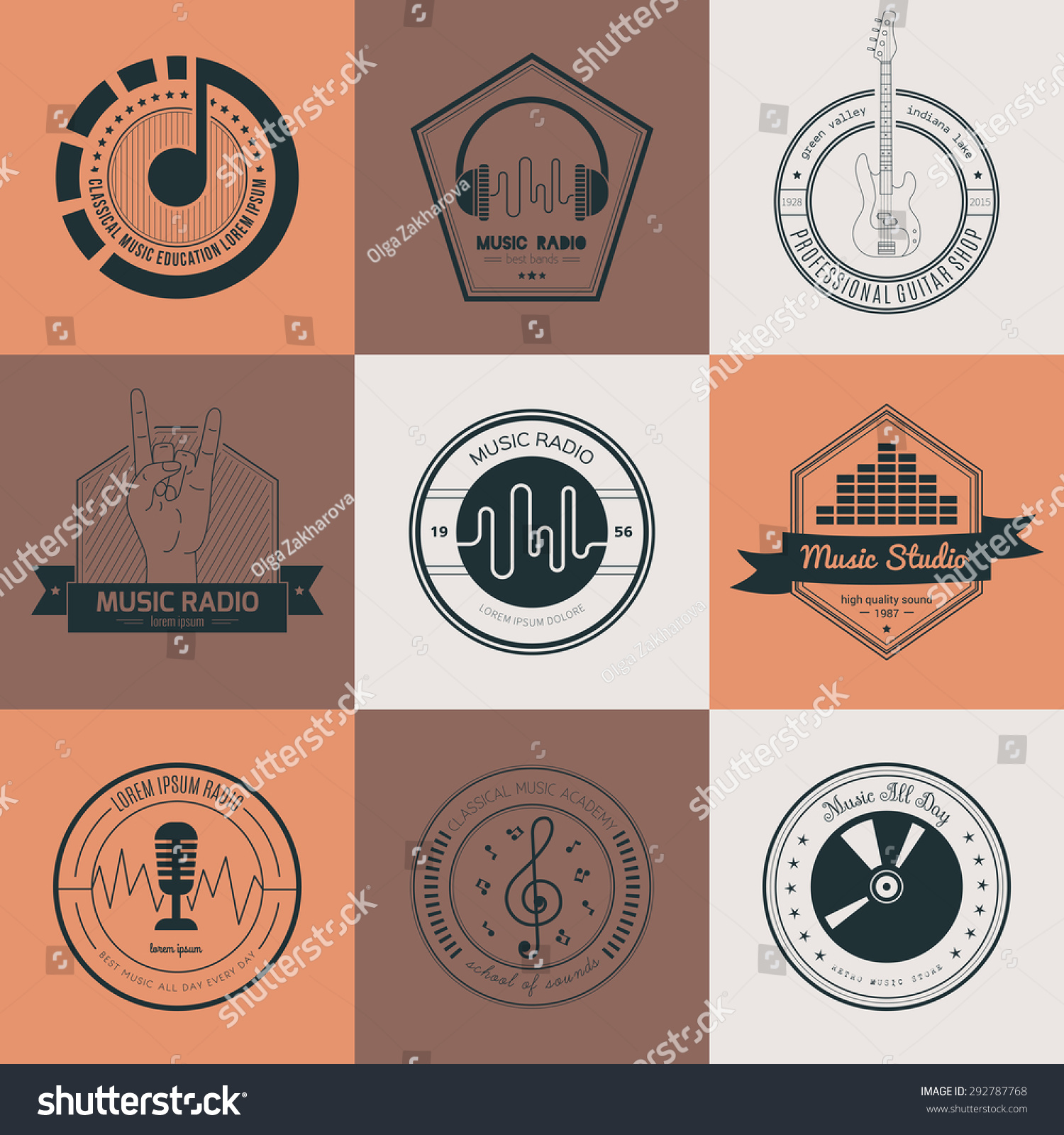 Shirt design elements - Collection Of Music Logos Made In Vector Recording Studio Labels Hipster Style Vintage T