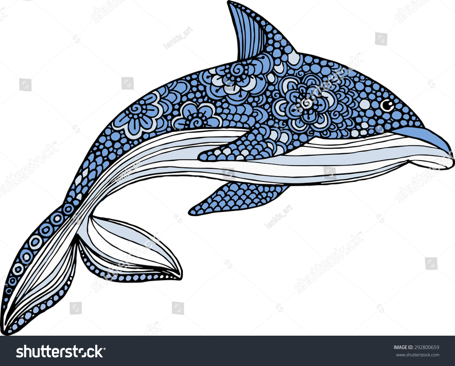 Stock vector ethnic animal doodle detail pattern killer whale - Vector Hand Drawn Dolphin Illustration With Doodle Ornaments Decorative Dolphin Drawing