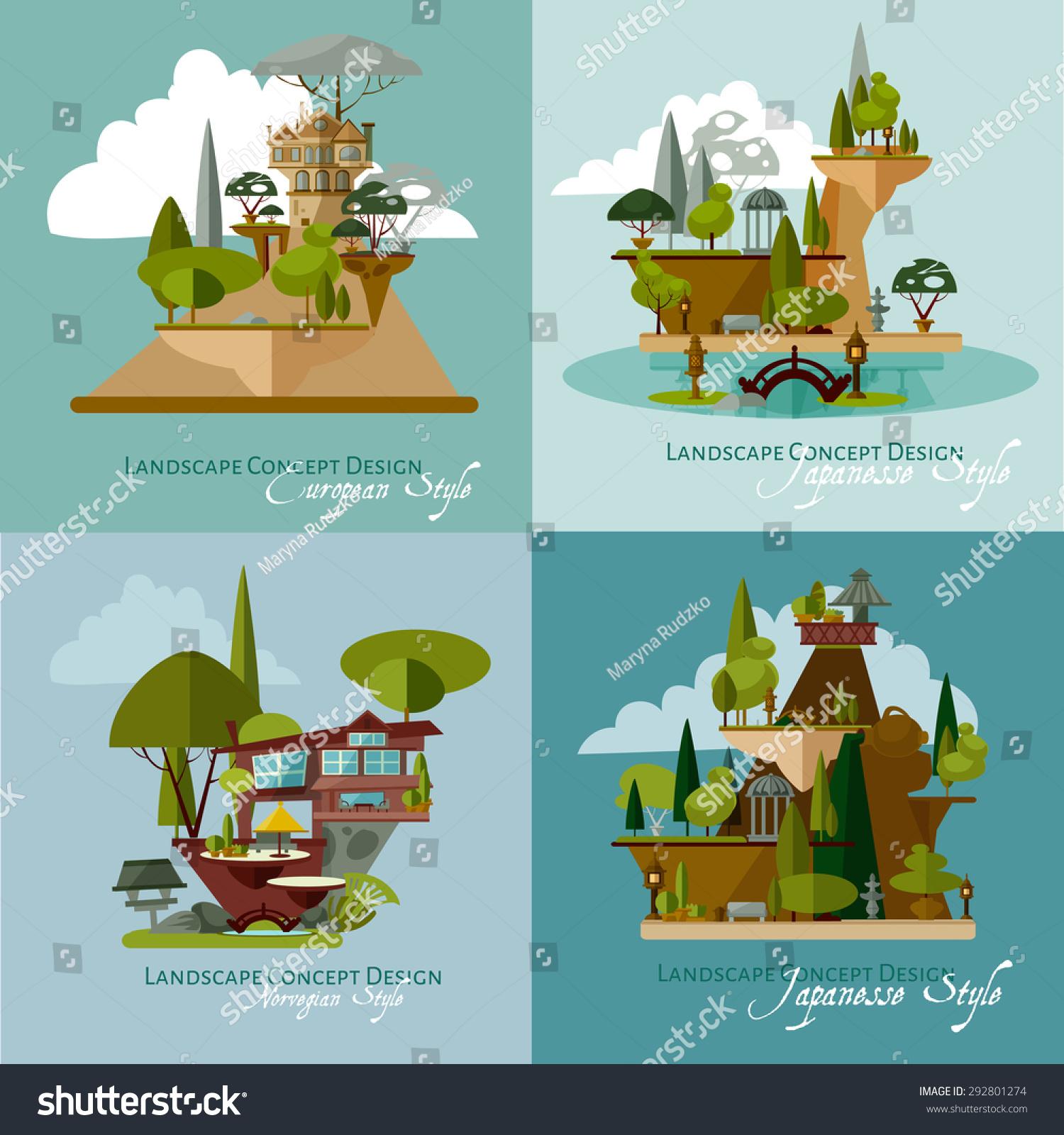 Vector Landscape Design Flat Concept Illustrations Stock Vector