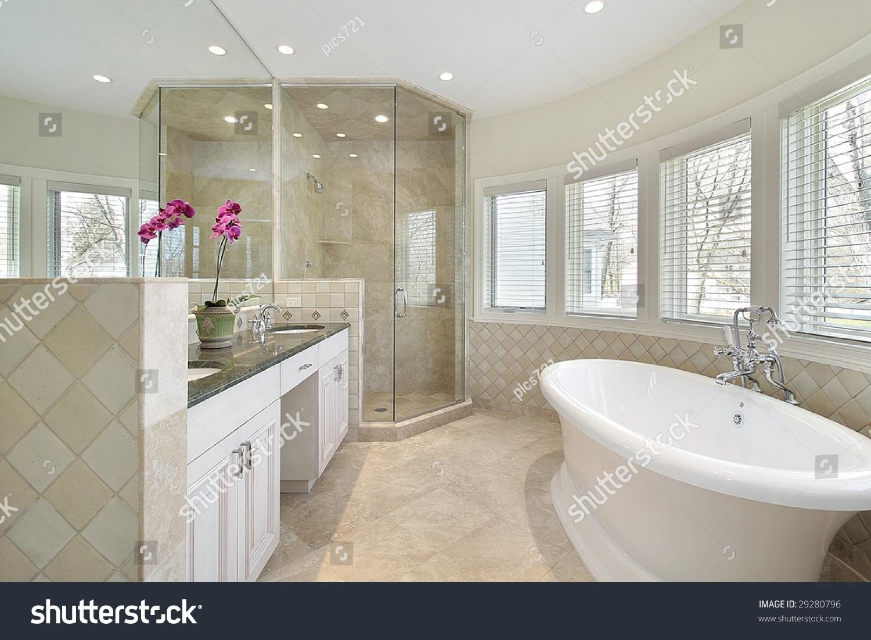 Modern Master Bath Large Tub Stock Photo (Edit Now) 29280796 ...