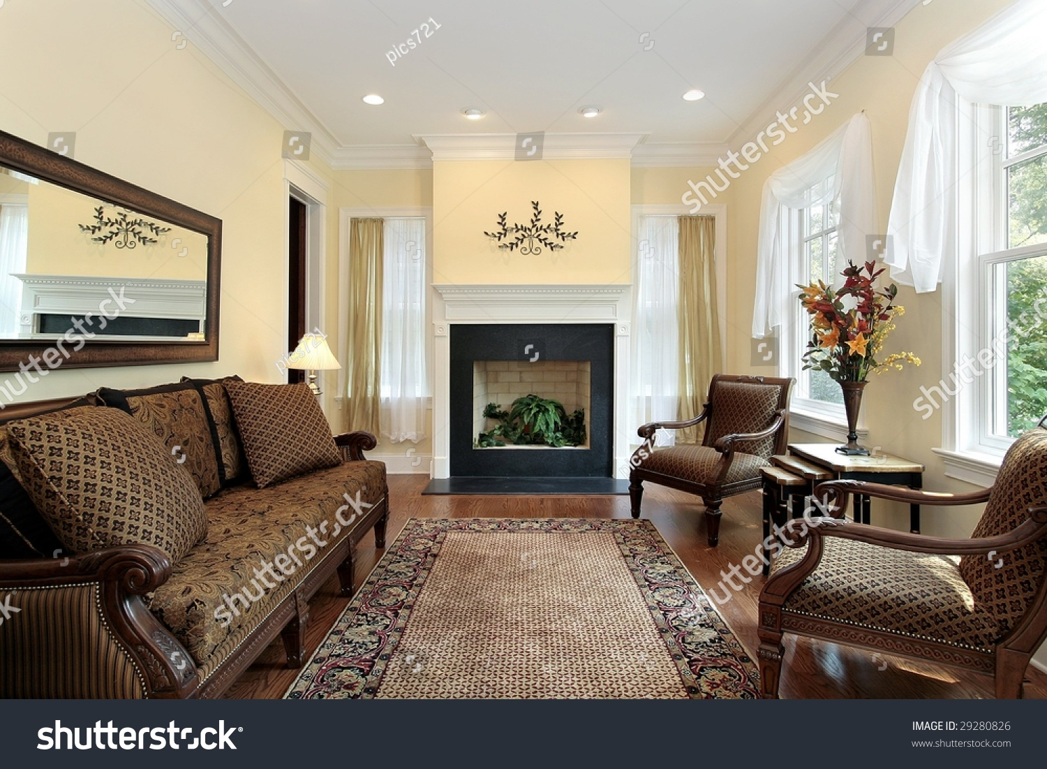 Luxury Living Room With Fireplace Stock Photo 29280826