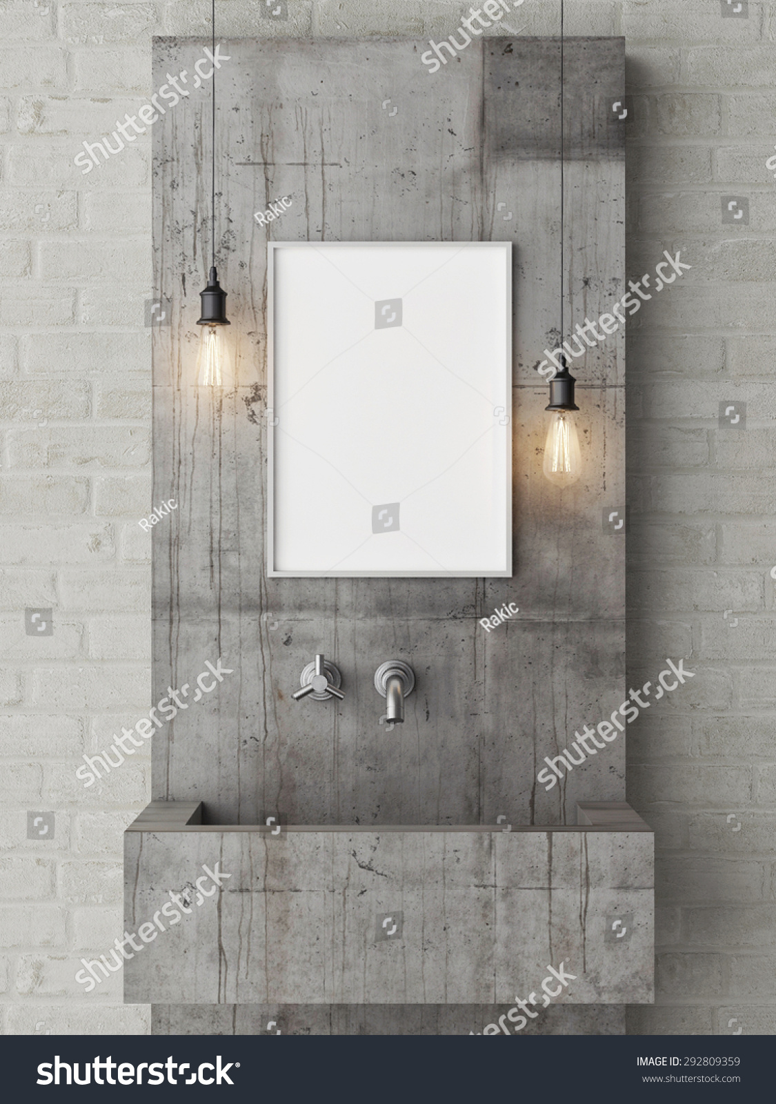 poster mock up loft bathroom 3d stock illustration 292809359
