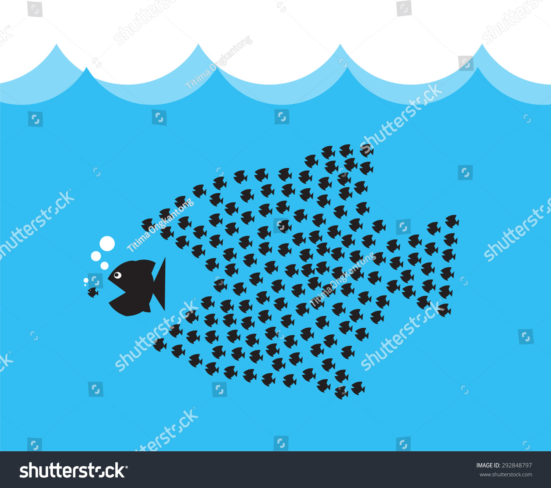 Little fish eat big fish unity stock vector 292848797 for Eat big fish