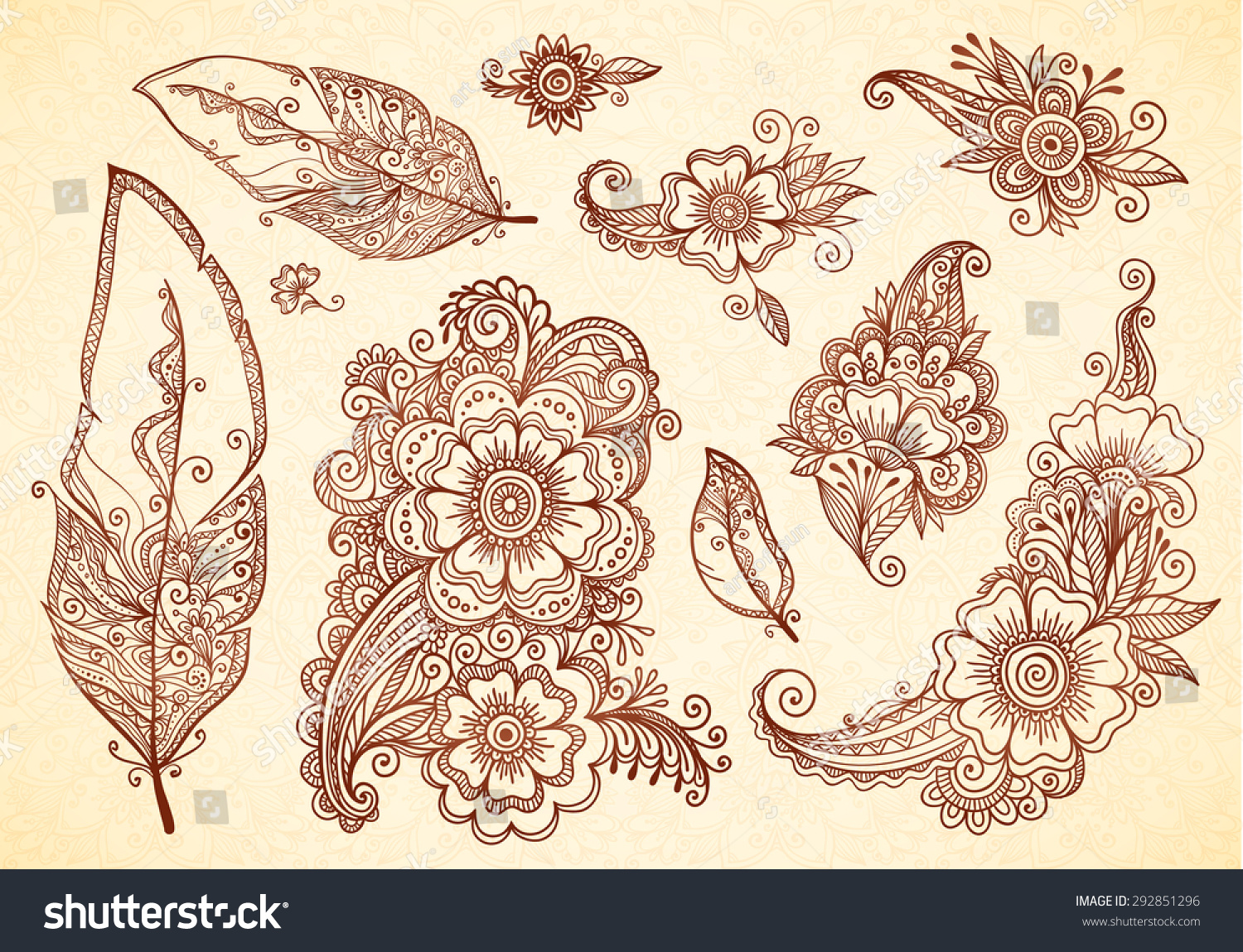 Feather Henna Tattoo Designs: Flowers Feathers Henna Tattoo Vector Designs Stock Vector