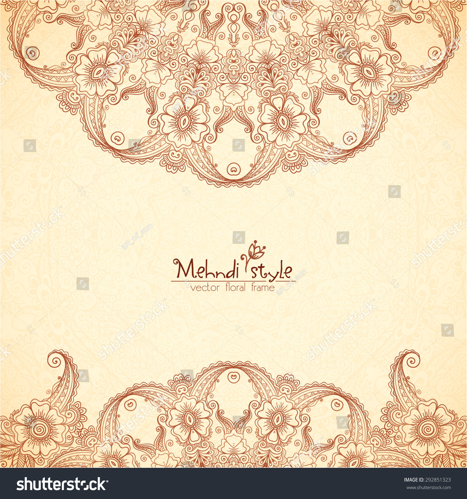 Vector Vintage Background Indian Henna Tattoo Stock Vector Royalty