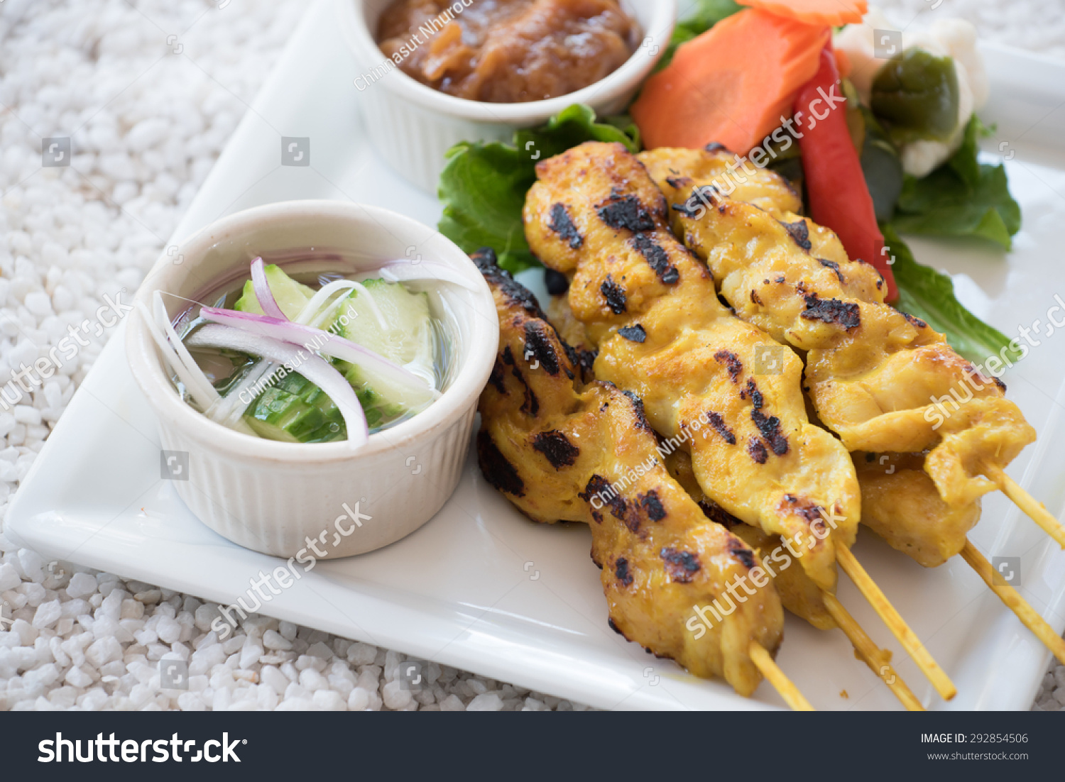 tradition grilled curry marinated chicken or chicken satay stock photo 292854506 shutterstock. Black Bedroom Furniture Sets. Home Design Ideas