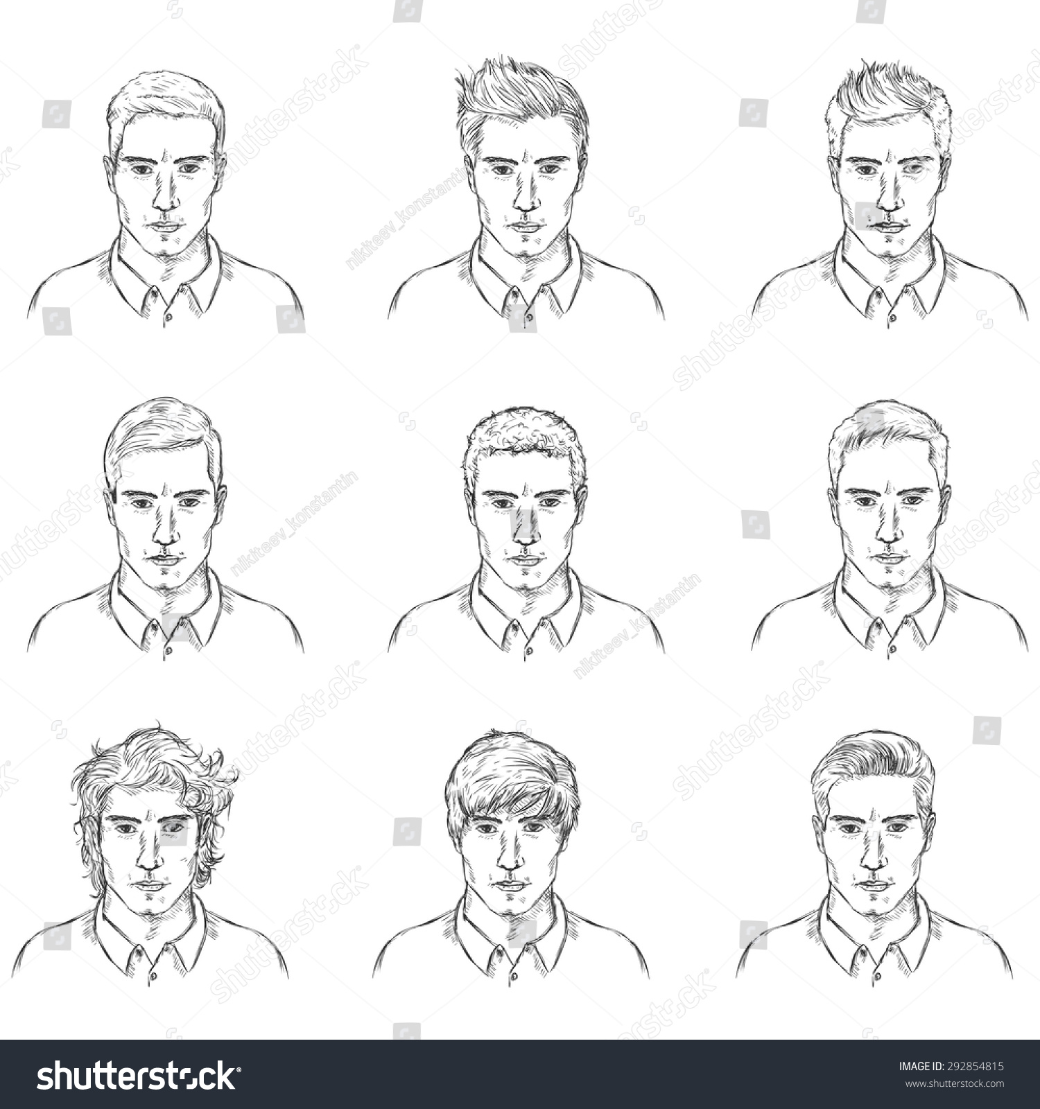 Terrific Vector Set Sketch Male Faces Types Stock Vector 292854815 Short Hairstyles For Black Women Fulllsitofus