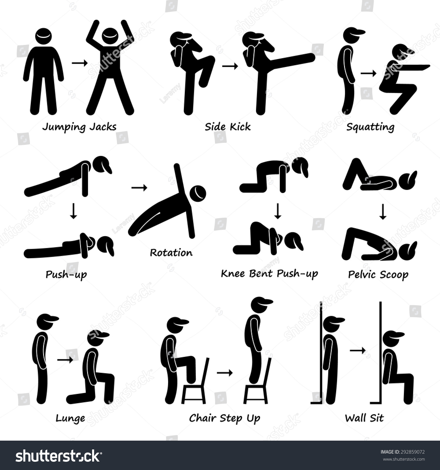 body workout exercise fitness training set stock vector royalty Jumping Jacks 500 Calories body workout exercise fitness training set 1 stick figure pictogram icons