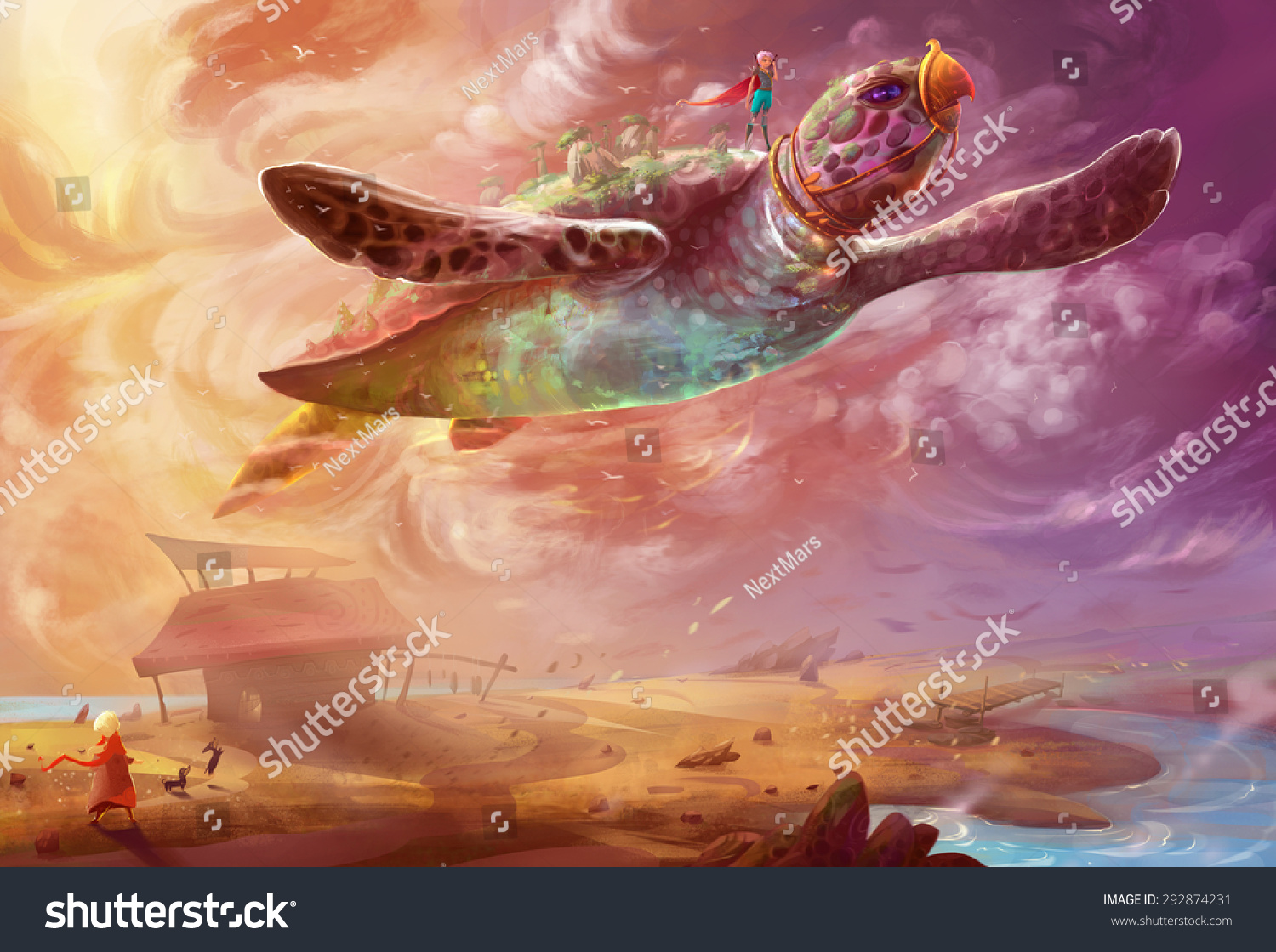 Illustration The Flying Turtle One Story of the Song of the Sea Series Scene Design Fantasy Topic Fantastic Realistic Style