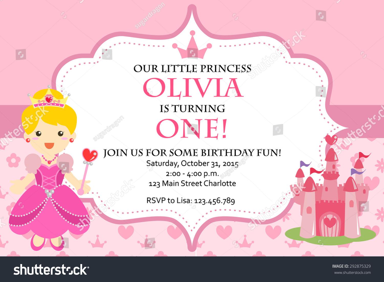 Princess birthday party invitation vector stock vector 292875329 princess birthday party invitation vector stopboris Image collections