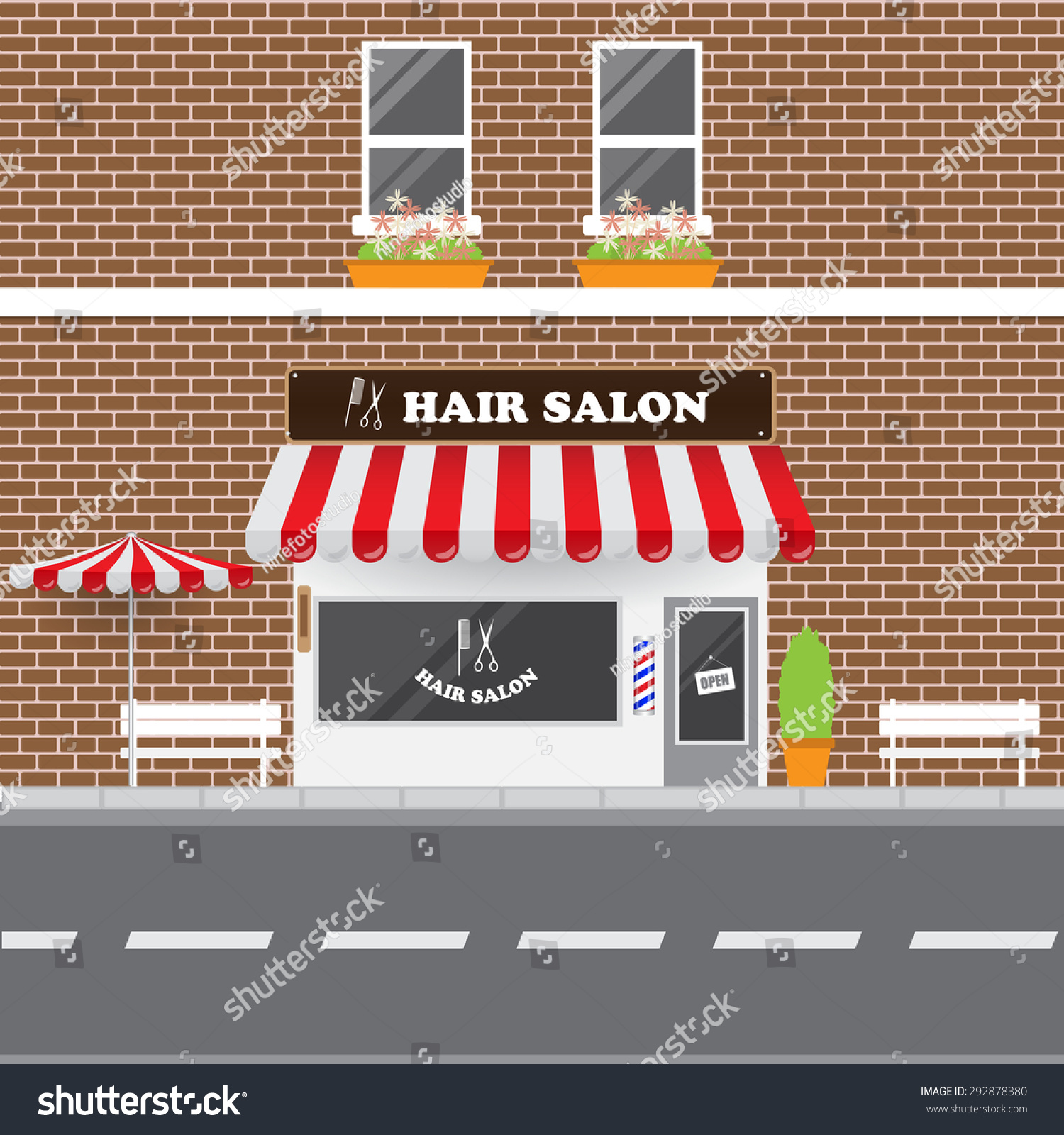 Hair salon chair isolated stock photos illustrations and vector art - Hair Salon With Street Landscape Brick Building Retro Style Facade Vector Illustration