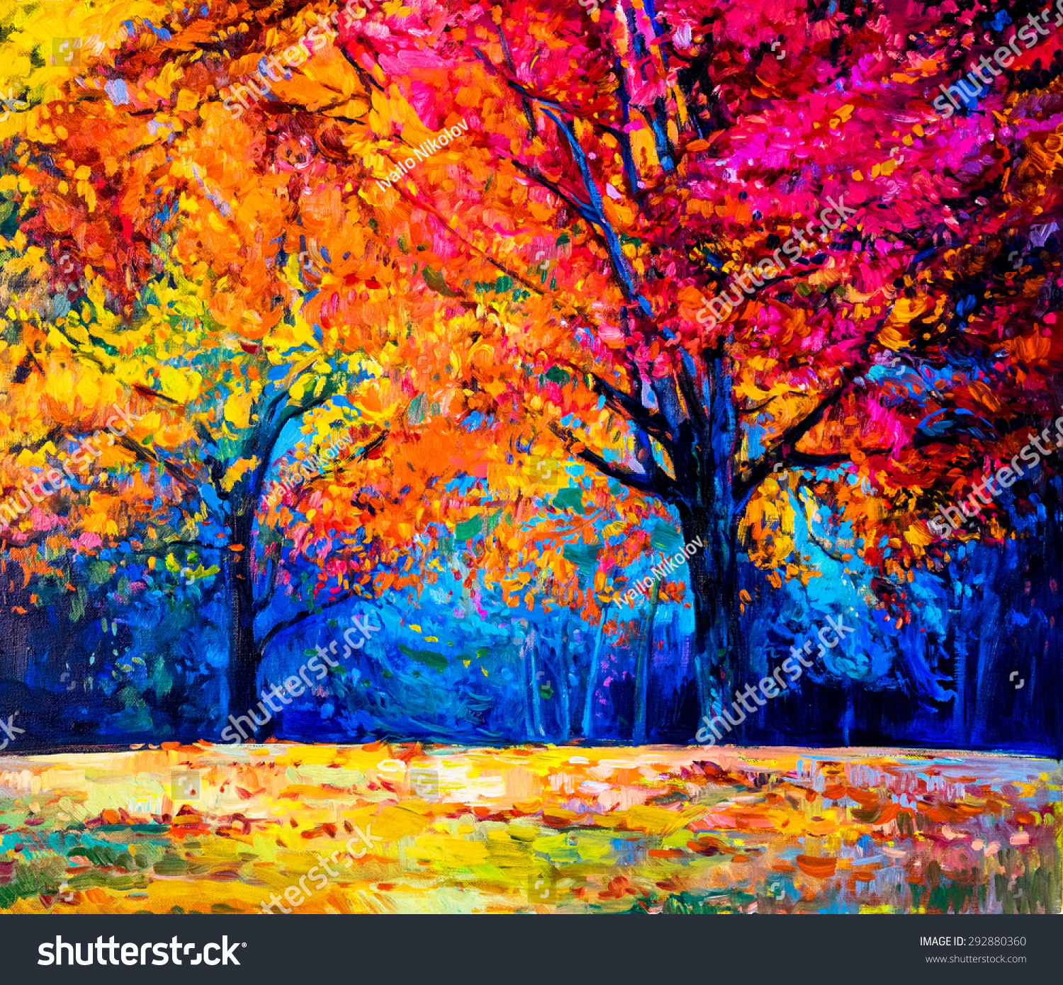 Oil painting landscape colorful autumn trees stock for Autumn tree painting