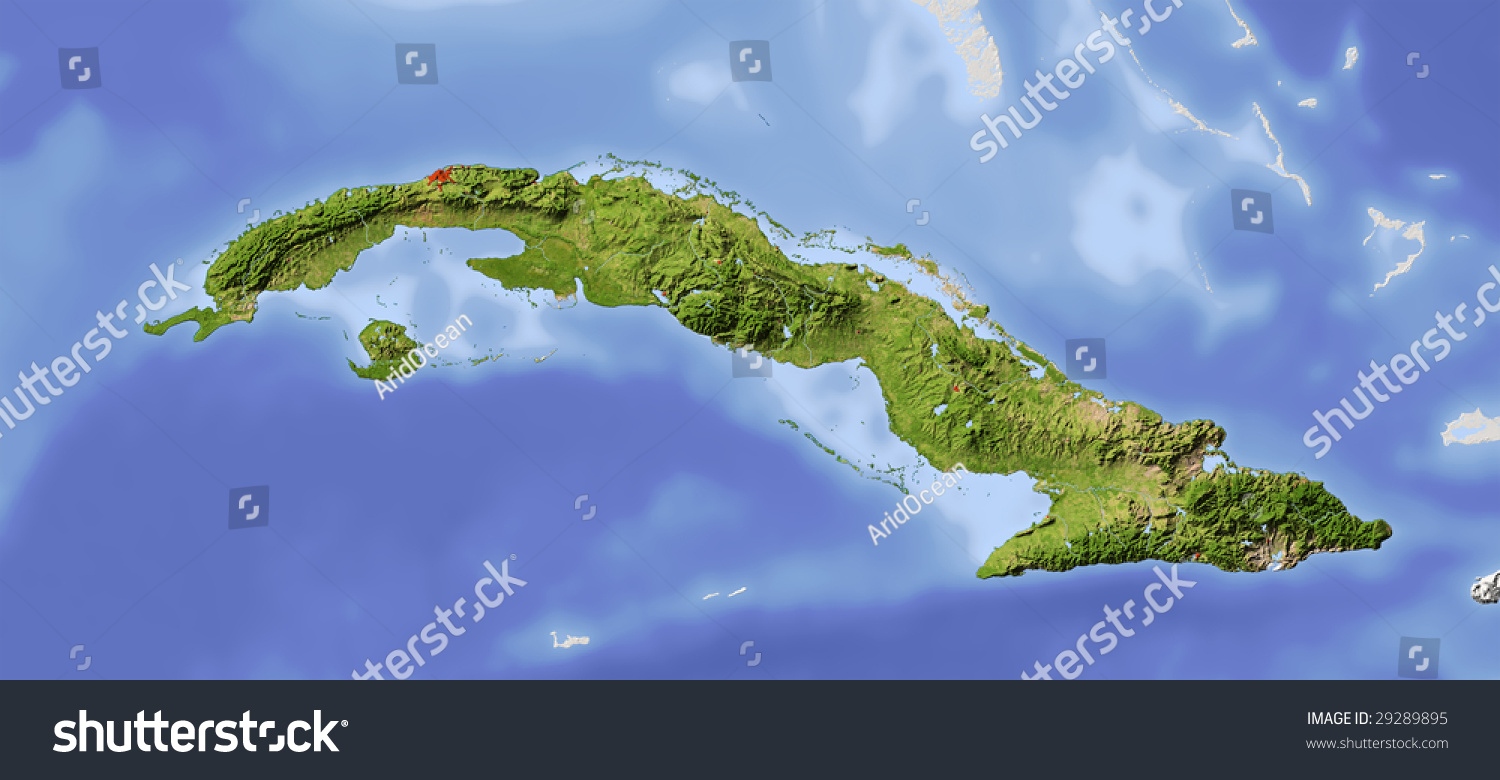 Cuba Shaded Relief Map Surrounding Territory Stock Illustration