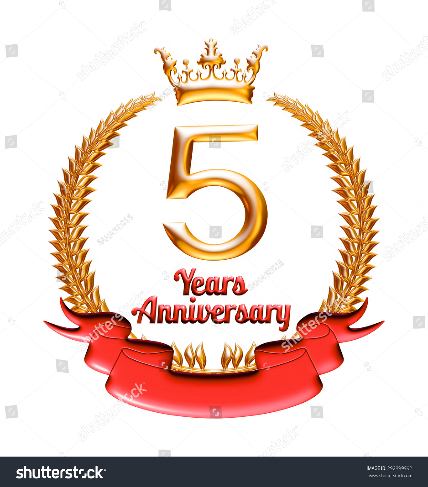 5 years anniversary golden red ribbon stock illustration 292899992 5 years anniversary golden with red ribbon isolated on white background biocorpaavc Gallery