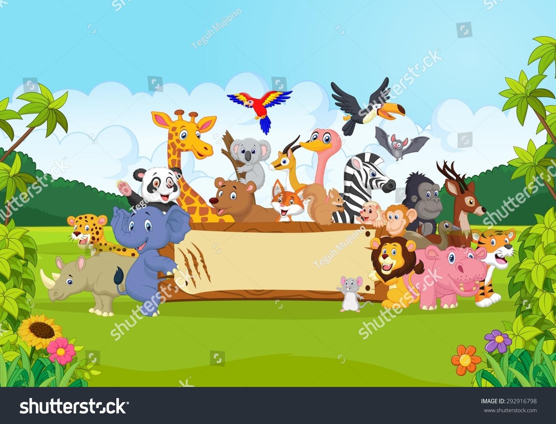 Cartoon Wild Animals Holding Banner Stock Vector 292916798 ...