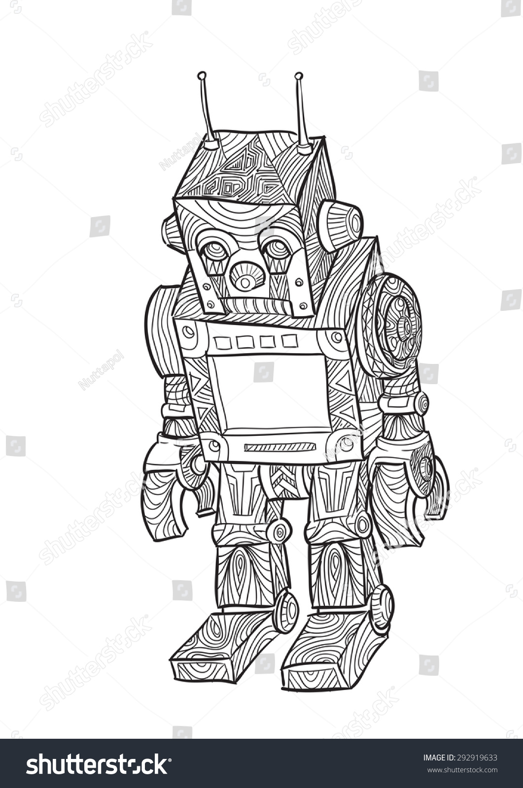 Uncategorized Draw A Robot hand draw robot zentangle style stock vector 292919633 shutterstock of in style