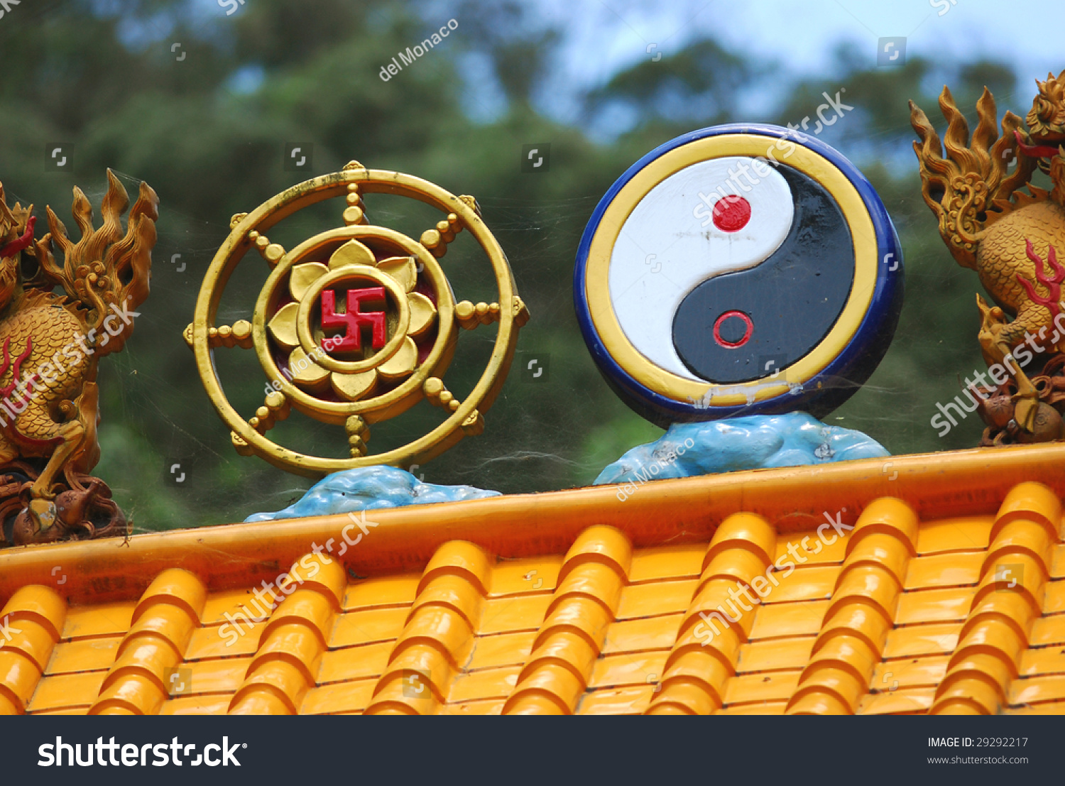 Taoism Symbols Dragon: Symbols Of Both Taoism And Buddhism On An Archway Stock