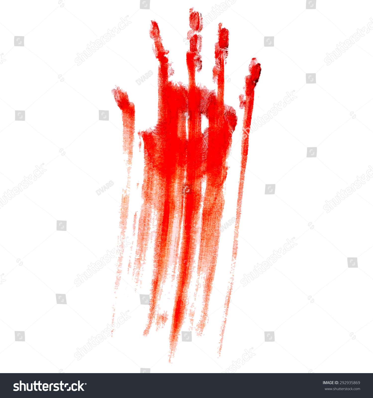 red bloody handprint on white background stock vector