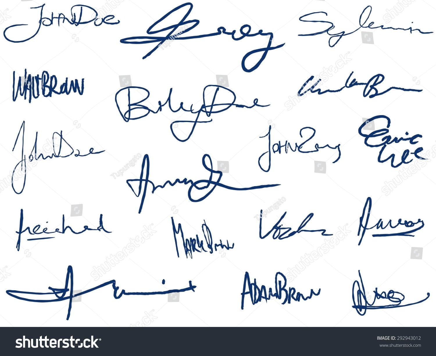 Collection Handwritten Signatures Personal Contract Fictitious ...