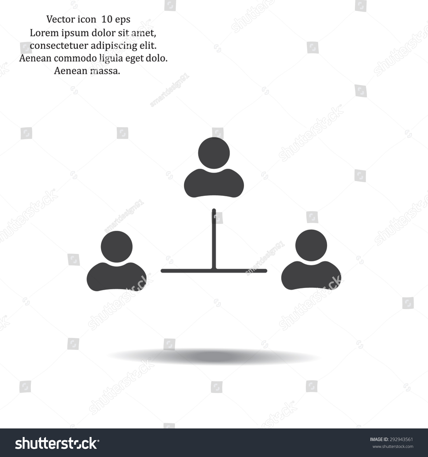 three people connected in a network - symbol for download  vector icons for  video,