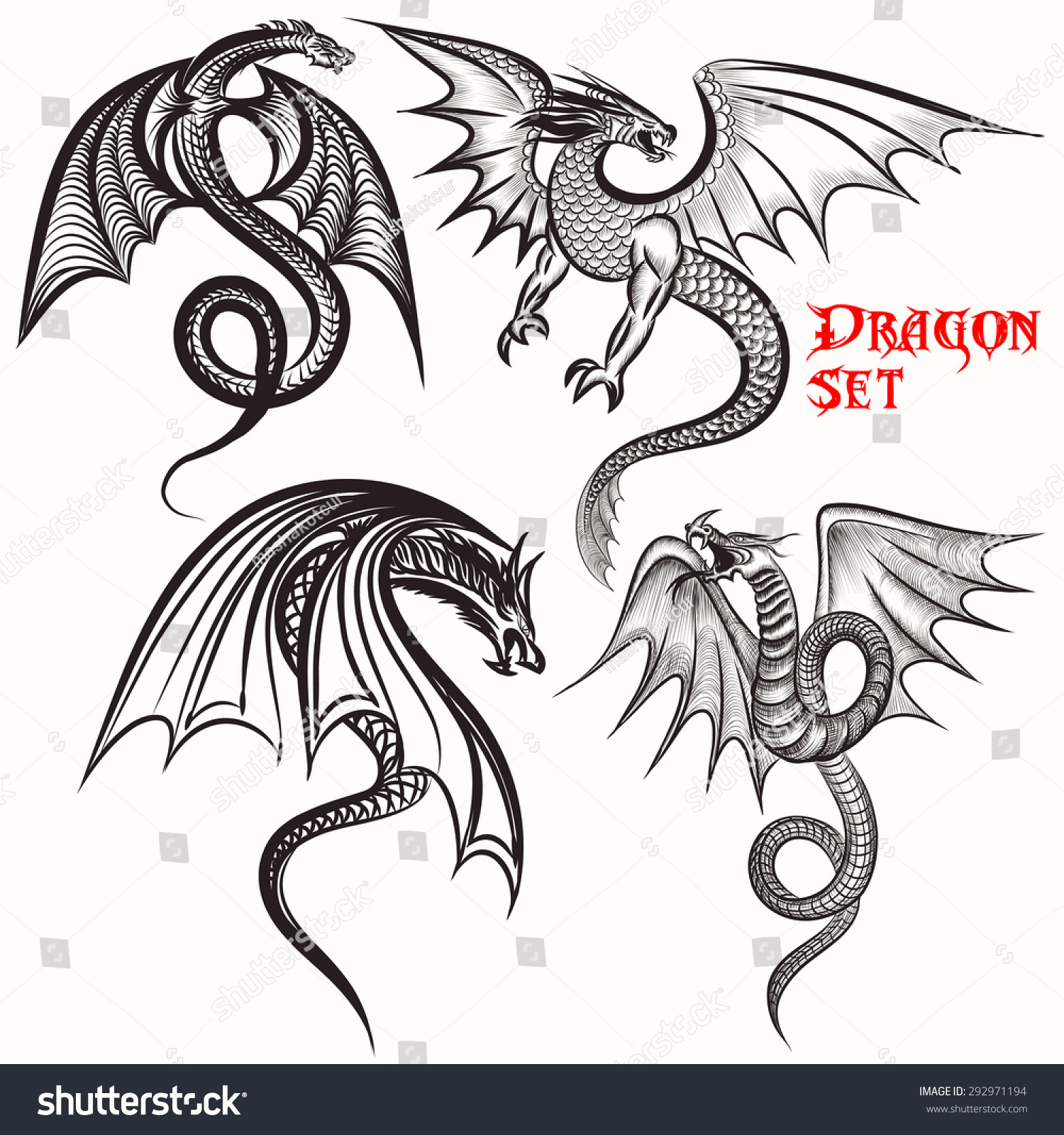 Uncategorized Drawn Dragons tattoo vector set hand drawn dragons stock 292971194 for design