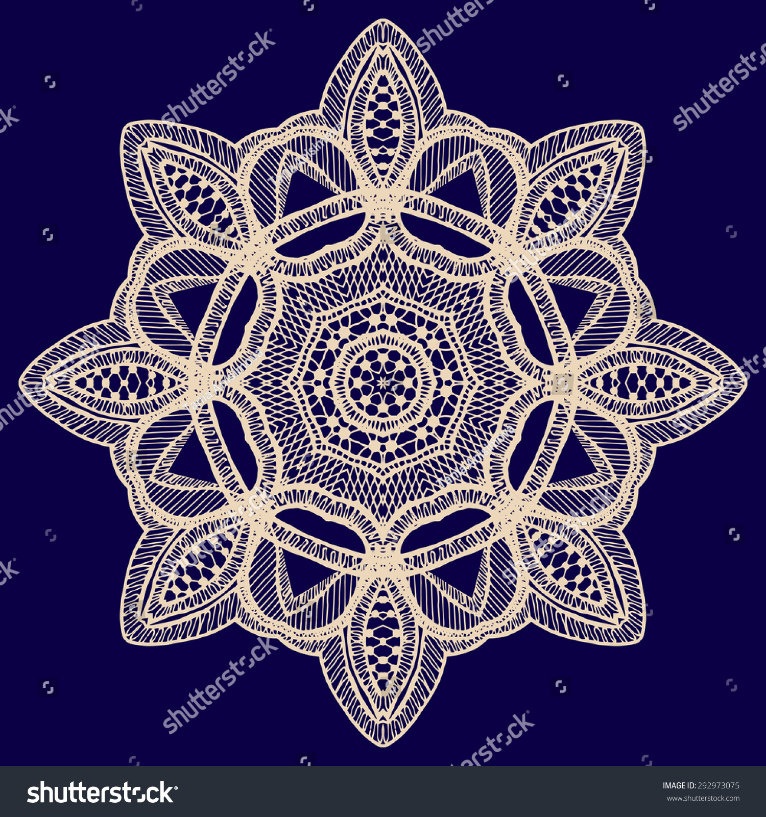 Vintage Handmade Knitted Doily Vector Round Stock Photo (Photo ...