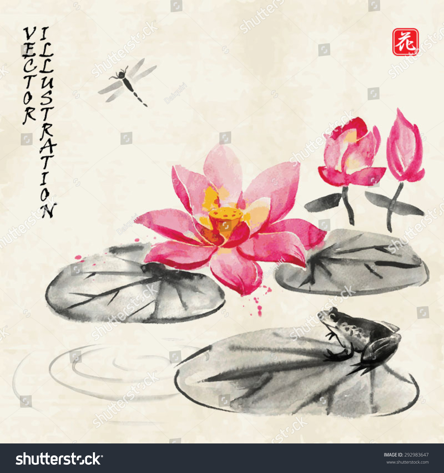 Card Lotus Flower Frog Dragonfly Traditional Stock Vector Royalty