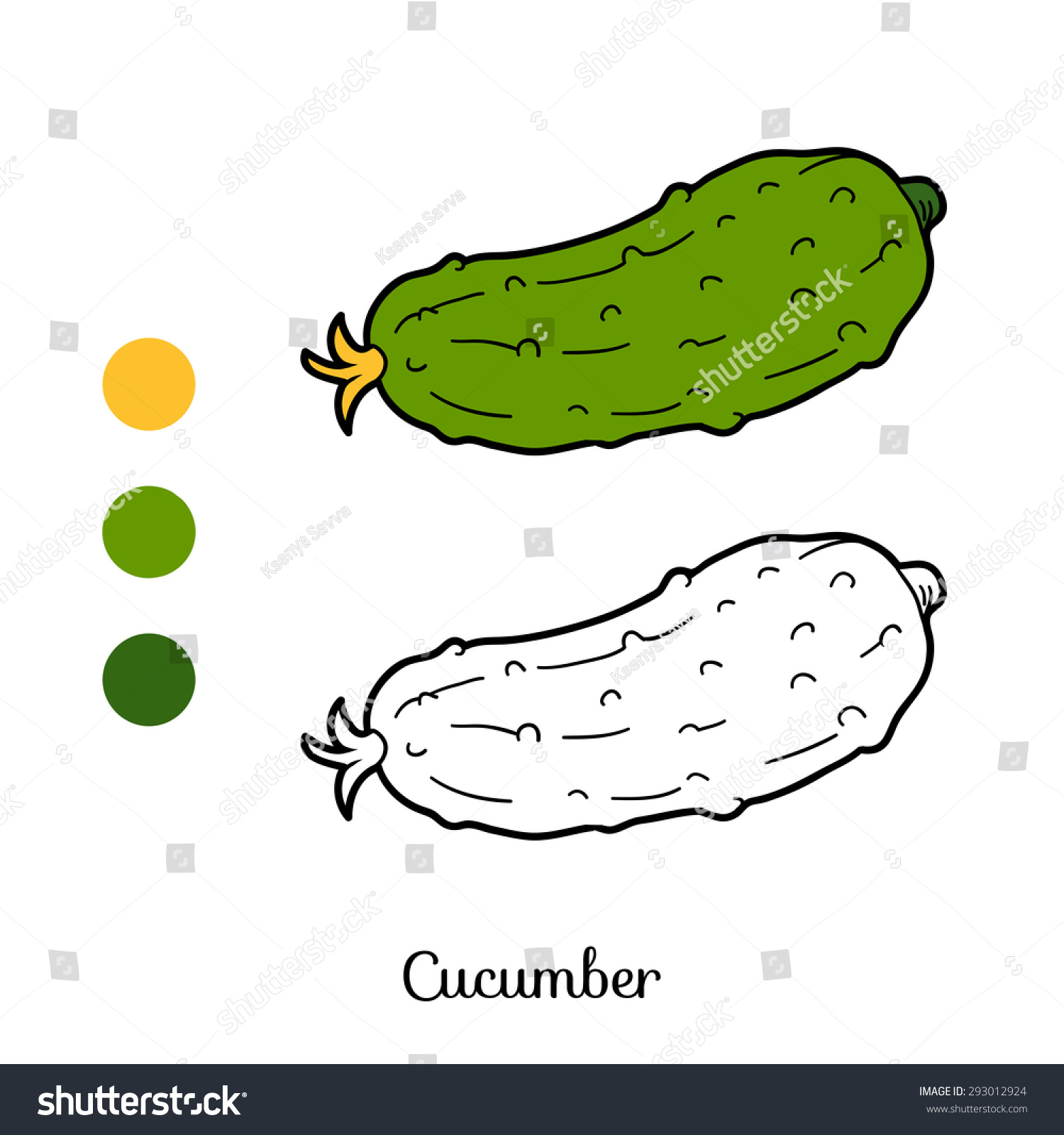 Coloring Book Fruits Vegetables Cucumber Stock Vector (Royalty Free ...