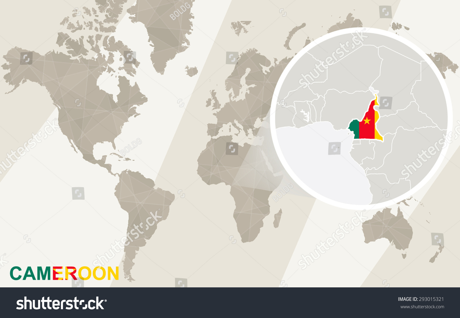 Zoom On Cameroon Map Flag World Stock Vector (Royalty Free ...