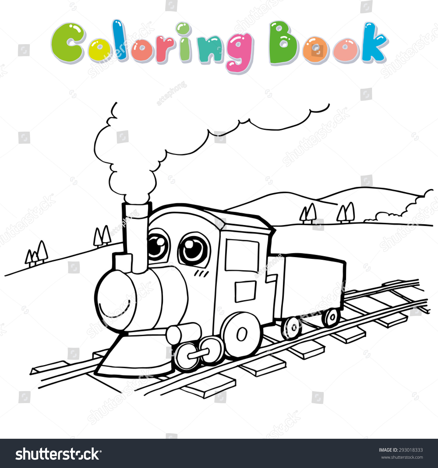train coloring page vector stock vector 293018333 shutterstock