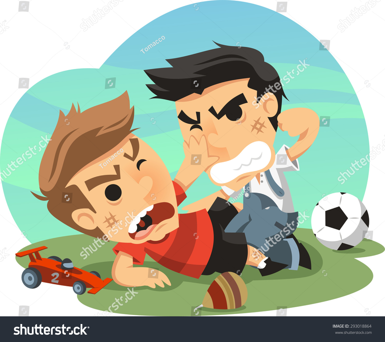 Two Little Boys Fighting Over Toys Stock vektorgrafik