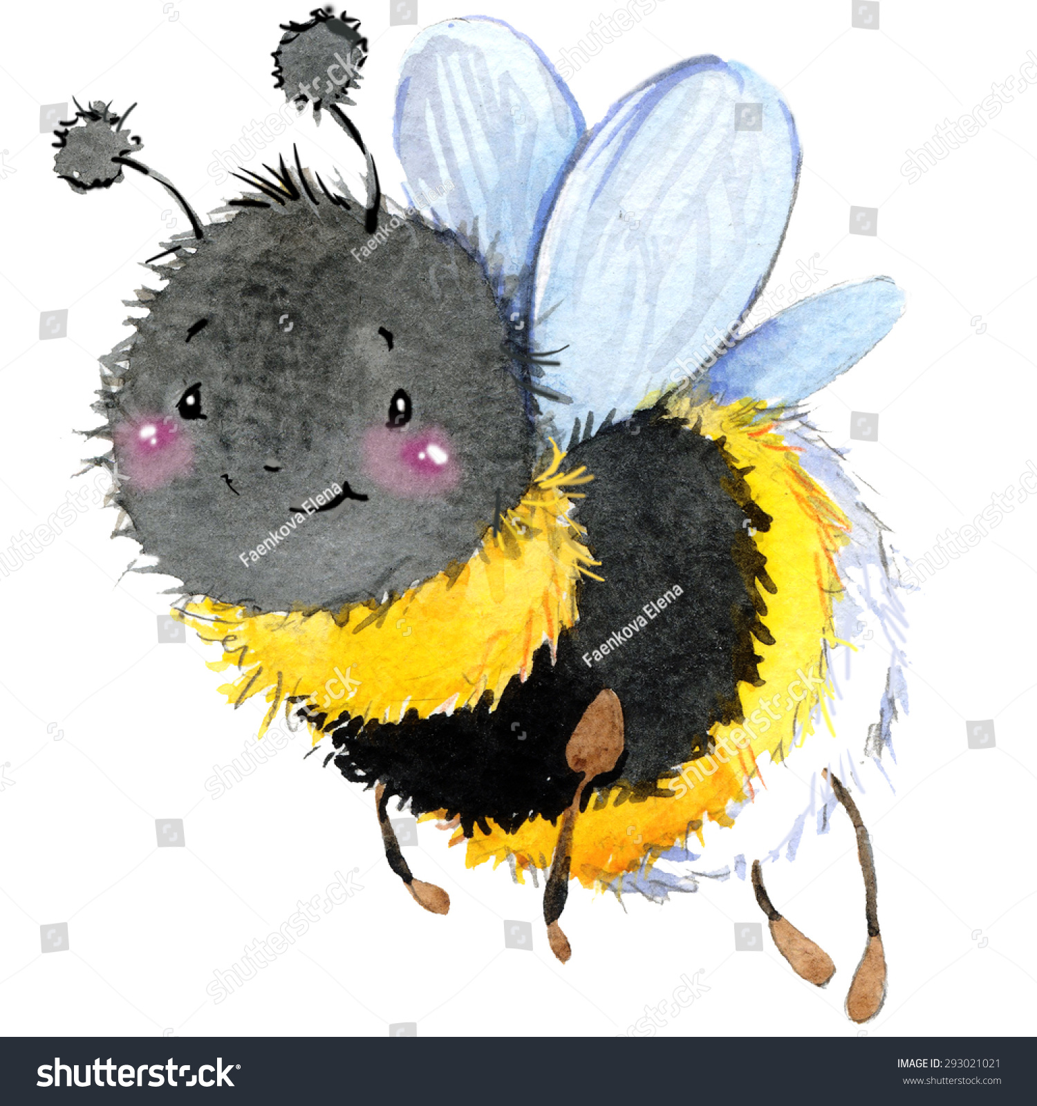 Cartoon Insect Bumblebee Watercolor Illustration Isolated On White Background