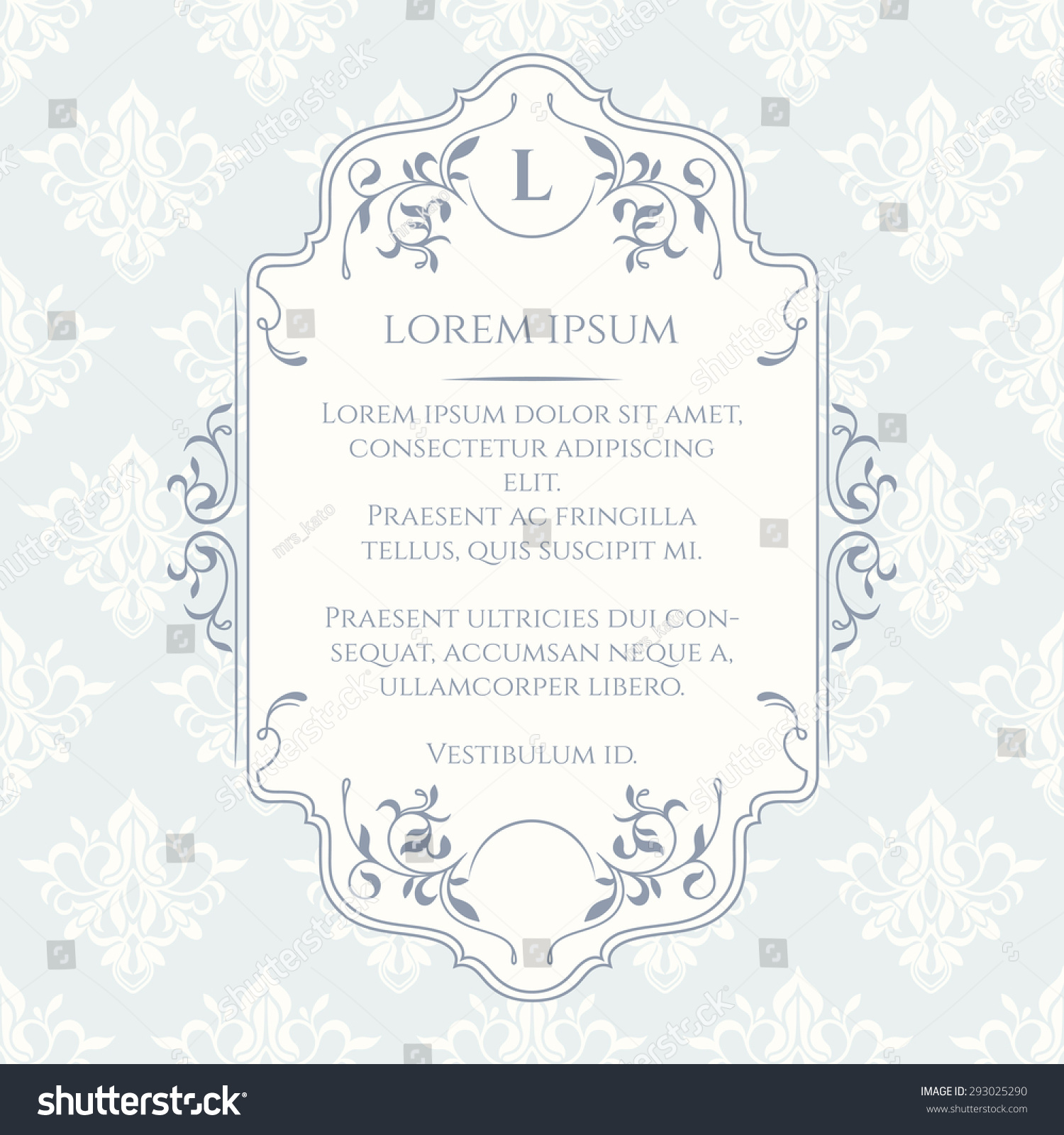 Frame border and classic seamless pattern Template for greeting cards invitations labels Decorative frame Graphic design page